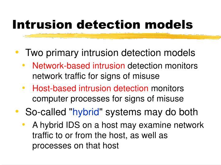 Intrusion detection models
