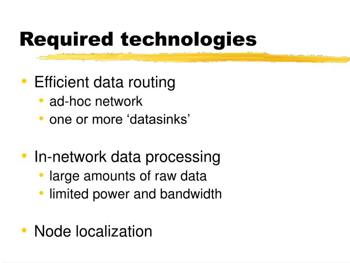Required technologies
