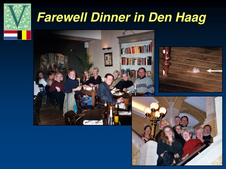 Farewell Dinner in Den Haag