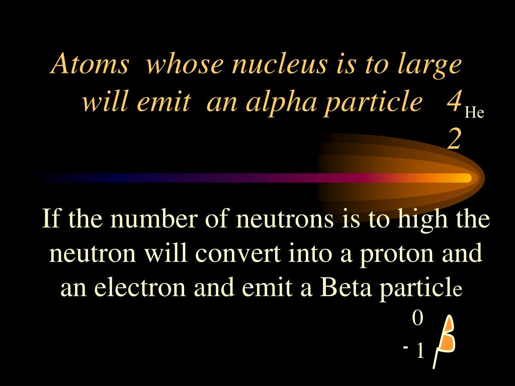 Atoms  whose nucleus is to large will emit  an alpha particle   4