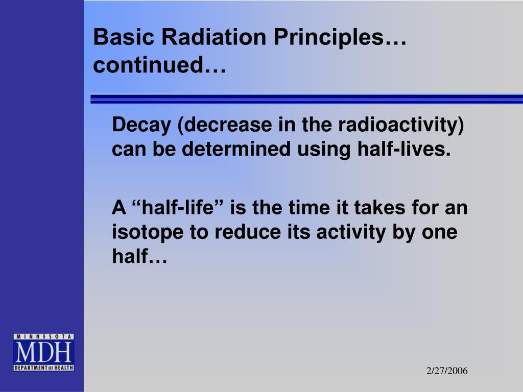 Basic Radiation Principles… continued…