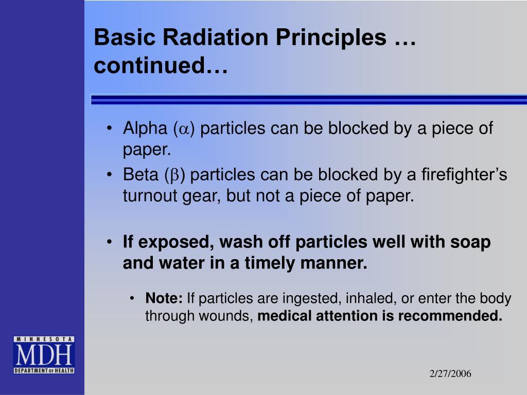 Basic Radiation Principles … continued…