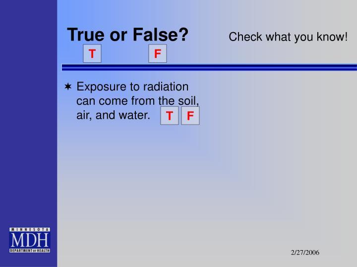 True or false check what you know