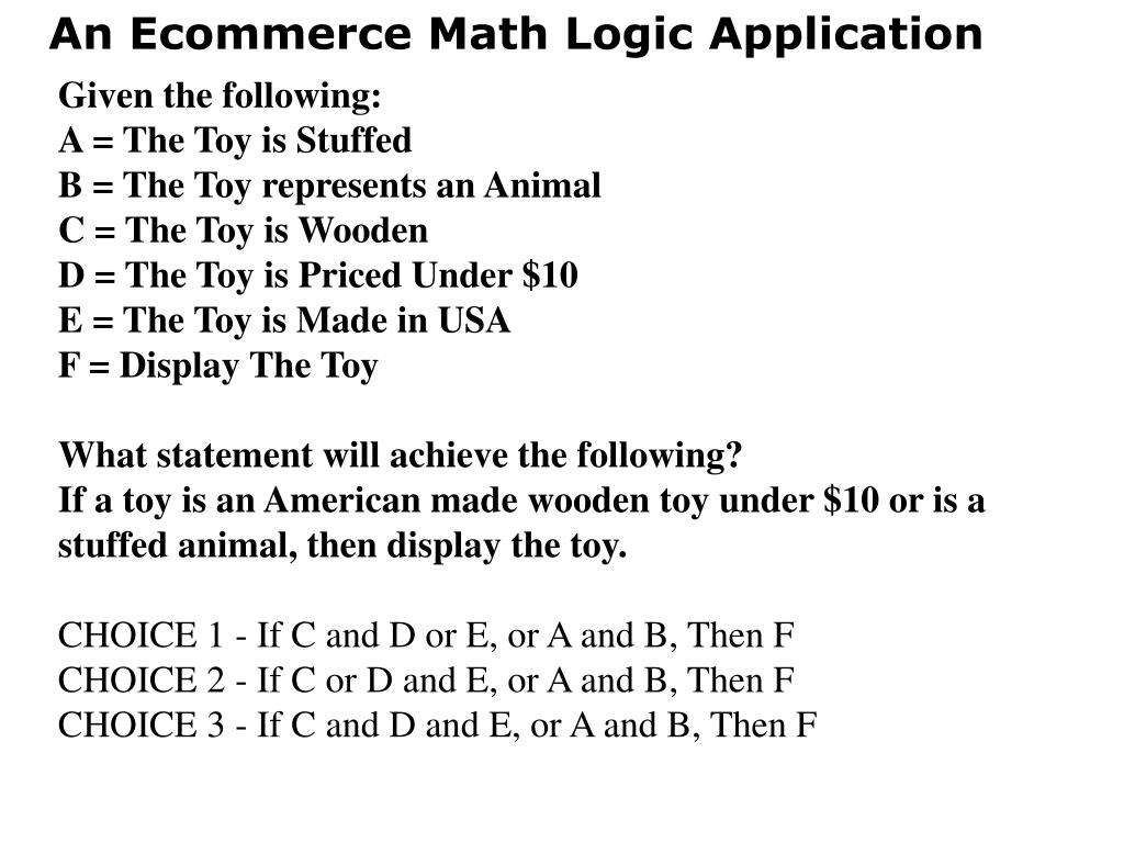 An Ecommerce Math Logic Application