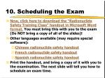 10 scheduling the exam