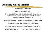 activity calculations