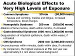 acute biological effects to very high levels of exposure