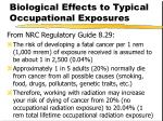 biological effects to typical occupational exposures42