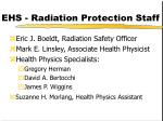 ehs radiation protection staff