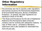 other regulatory information