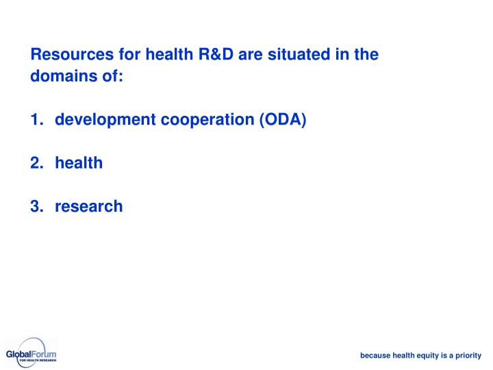 Resources for health R&D are situated in the