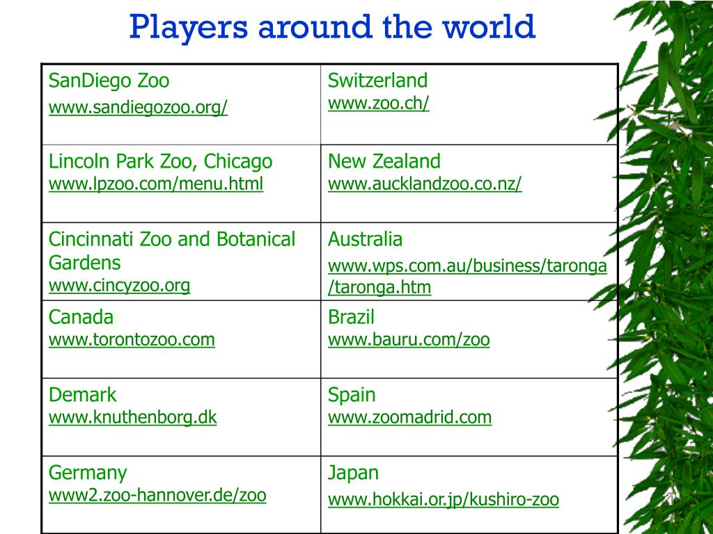 Players around the world