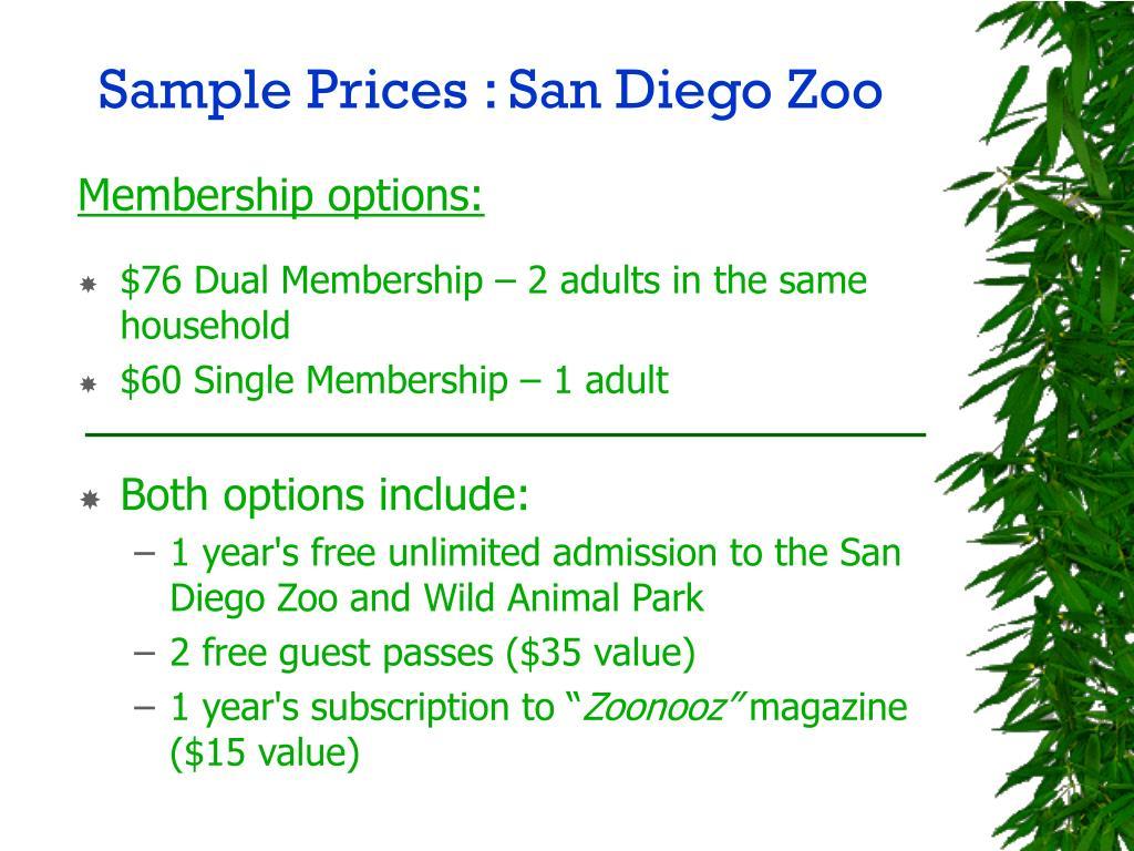 Sample Prices : San Diego Zoo
