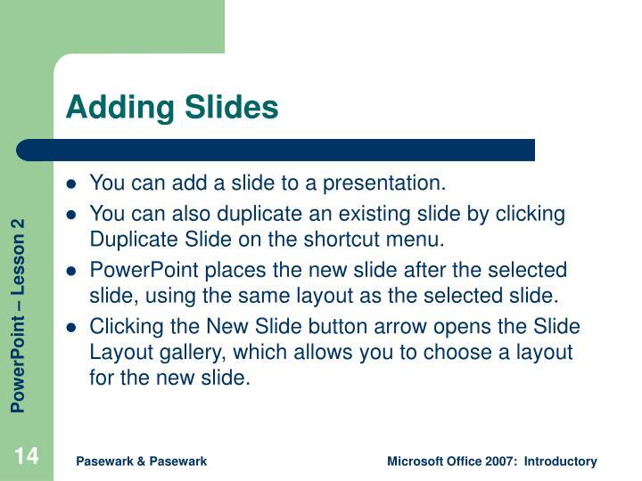 Adding Slides