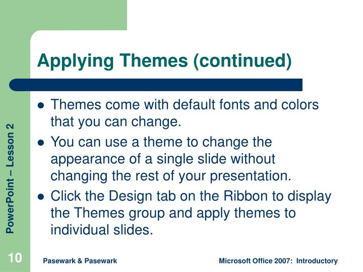 Applying Themes (continued)