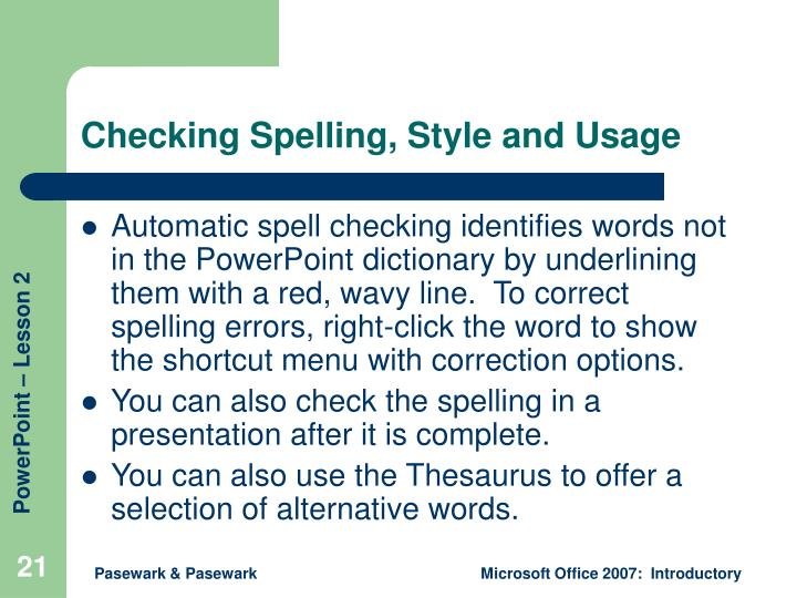 Checking Spelling, Style and Usage