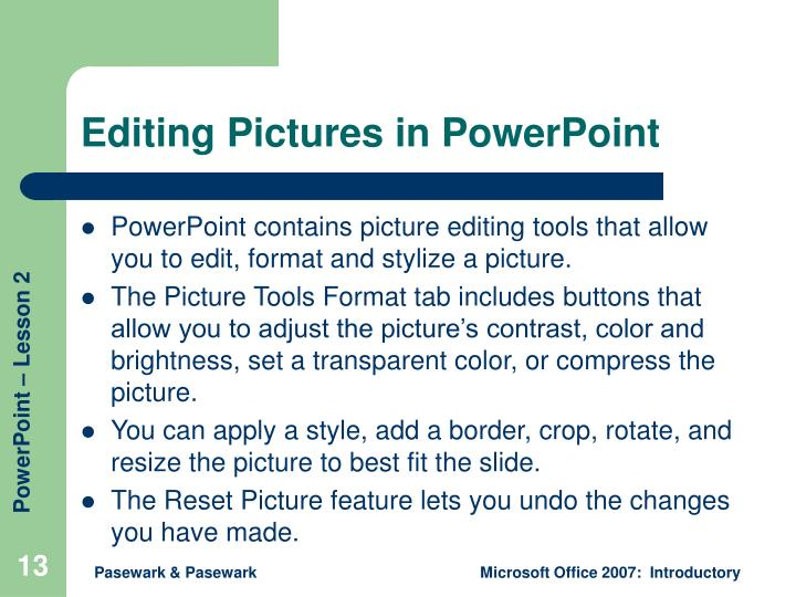 Editing Pictures in PowerPoint