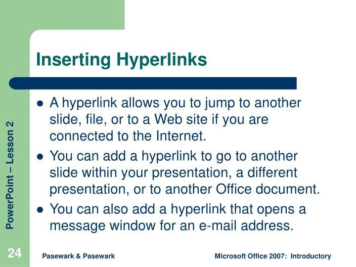 Inserting Hyperlinks