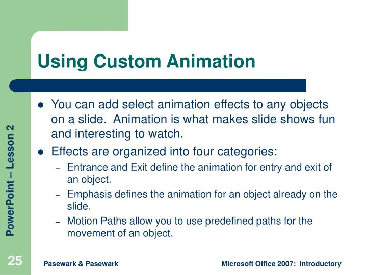 Using Custom Animation