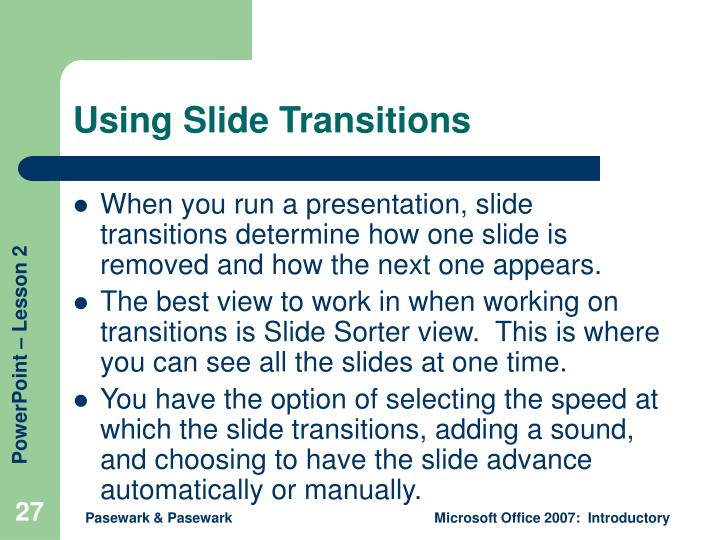 Using Slide Transitions