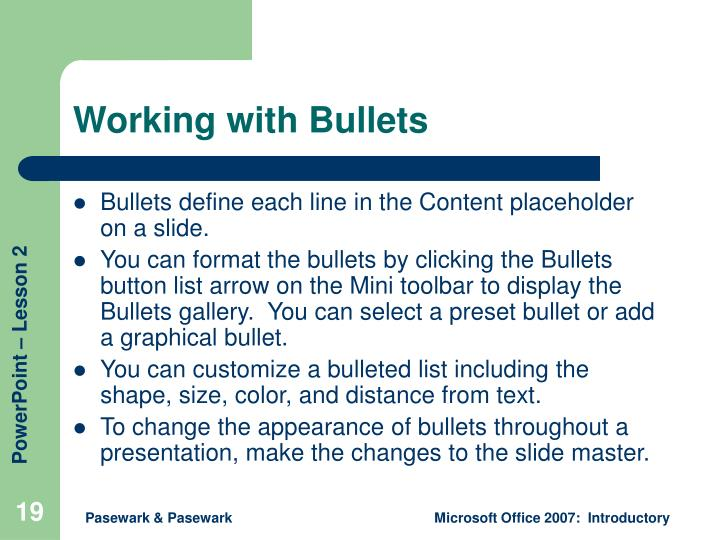 Working with Bullets