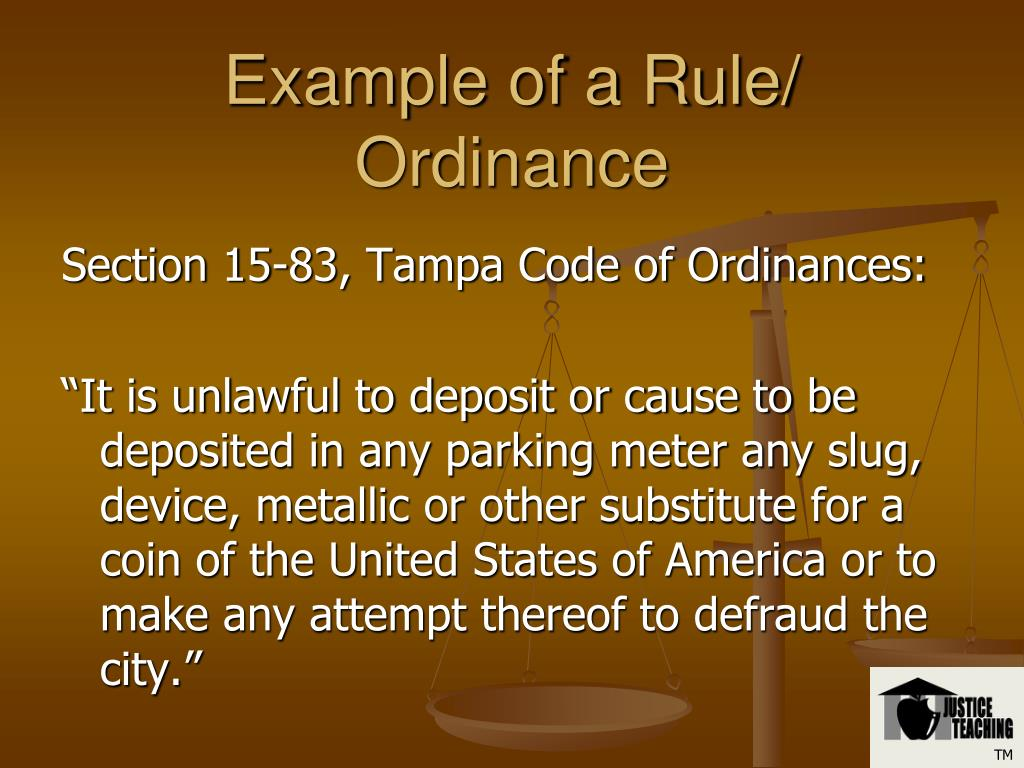 Example of a Rule/ Ordinance