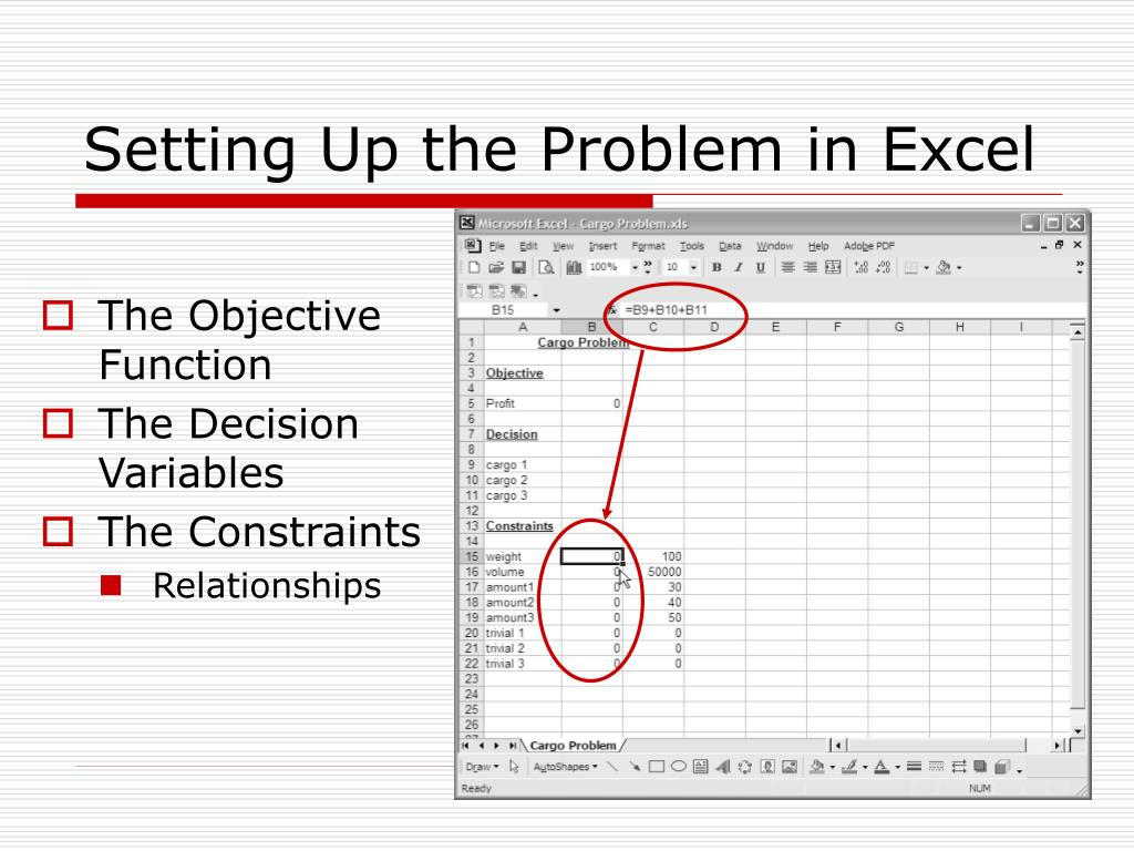 PPT - Using Excel Solver for Linear Optimization Problems