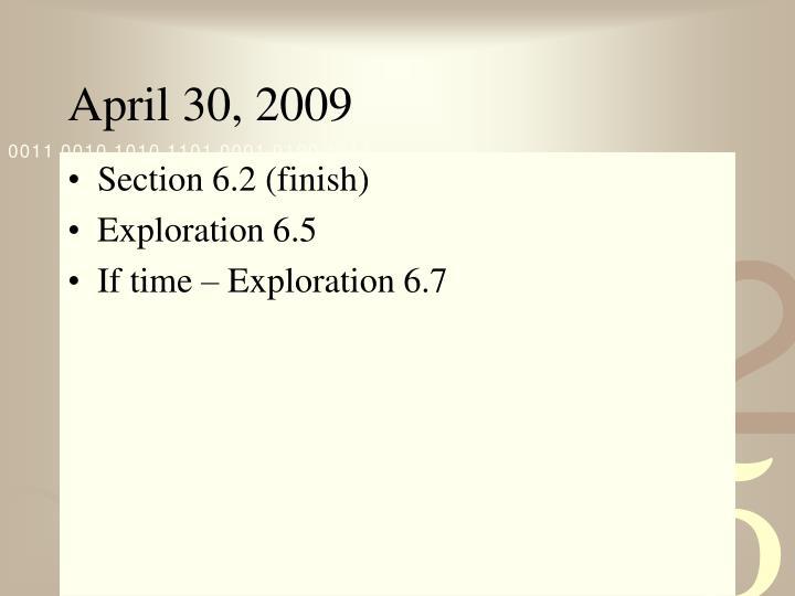 April 30 20093