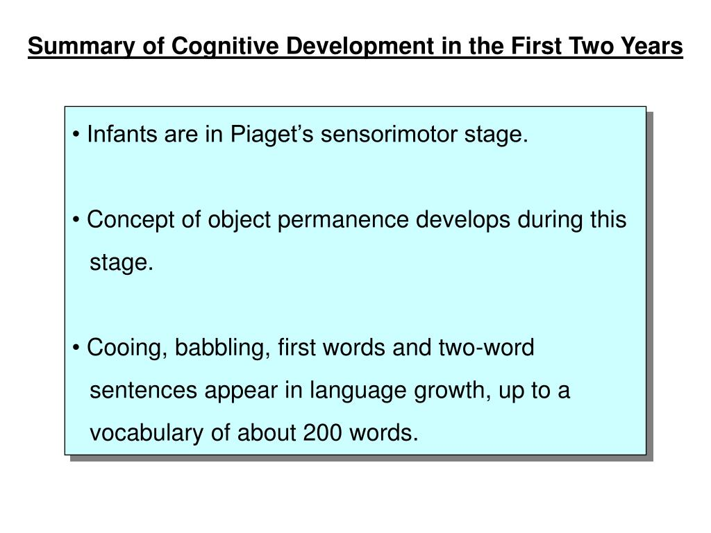 Summary of Cognitive Development in the First Two Years