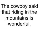 the cowboy said that riding in the mountains is wonderful