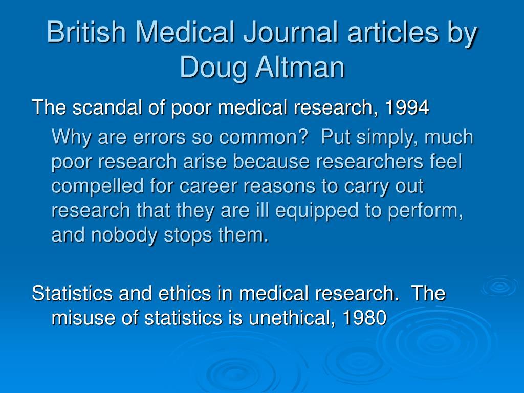 British Medical Journal articles by Doug Altman
