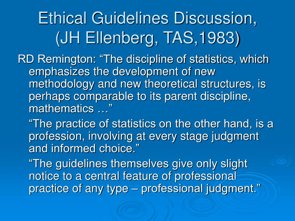 Ethical Guidelines Discussion,