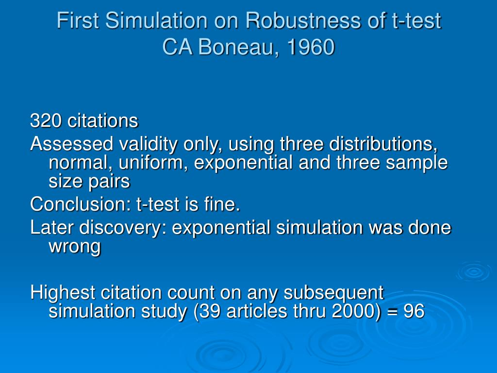 First Simulation on Robustness of t-test