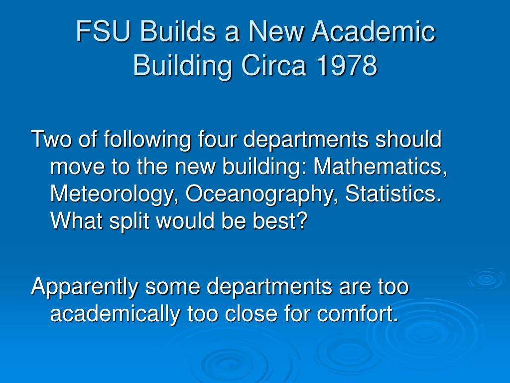 FSU Builds a New Academic Building Circa 1978