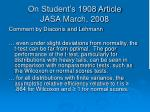 on student s 1908 article jasa march 2008