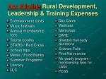 not eligible rural development leadership training expenses