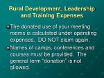 rural development leadership and training expenses
