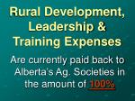 rural development leadership training expenses