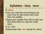 syllables tion ture
