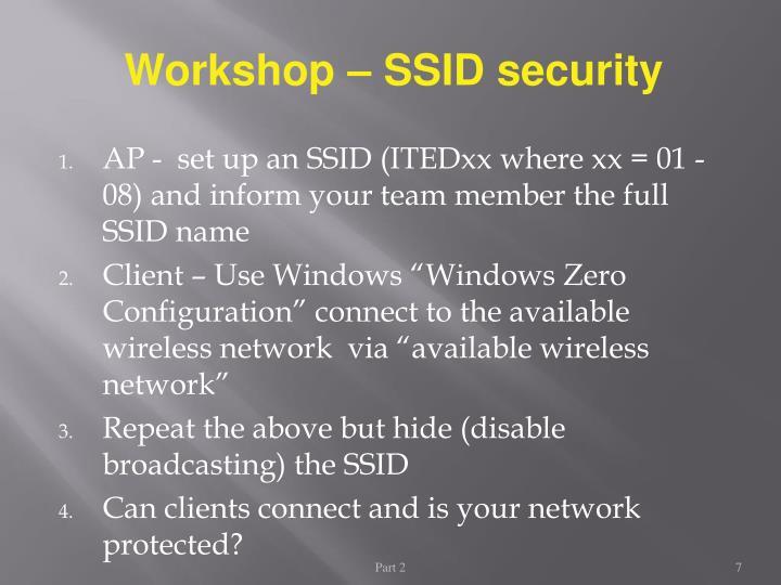 Workshop – SSID security