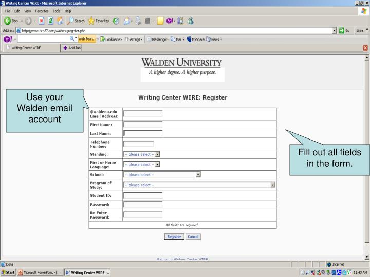 Use your Walden email account