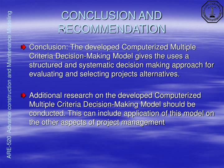 CONCLUSION AND RECOMMENDATION