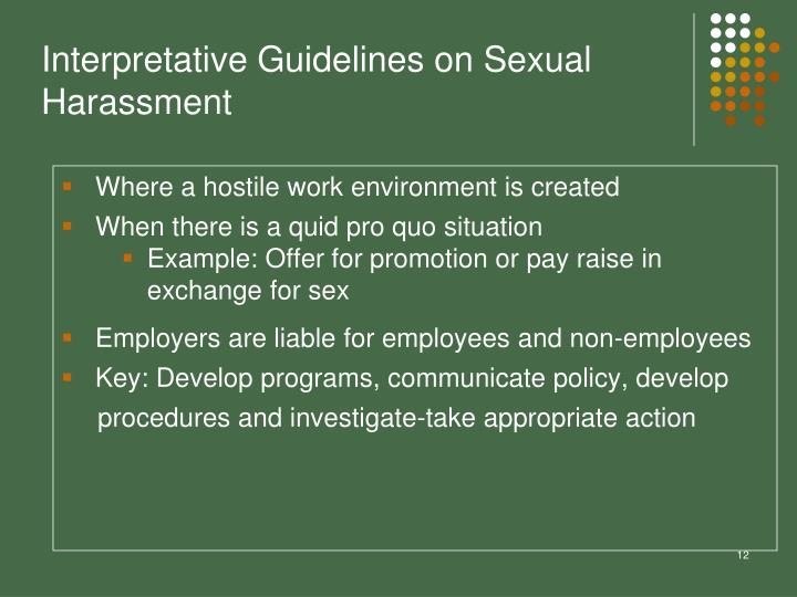 Interpretative Guidelines on Sexual Harassment
