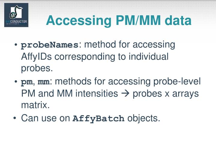 Accessing PM/MM data