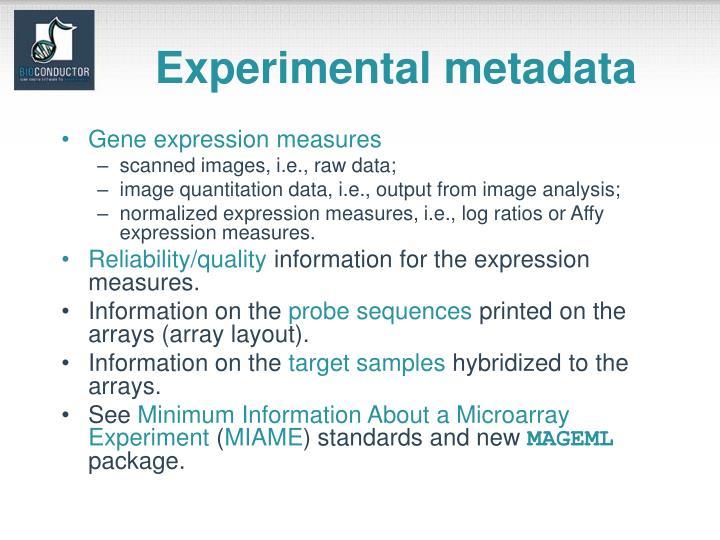Experimental metadata