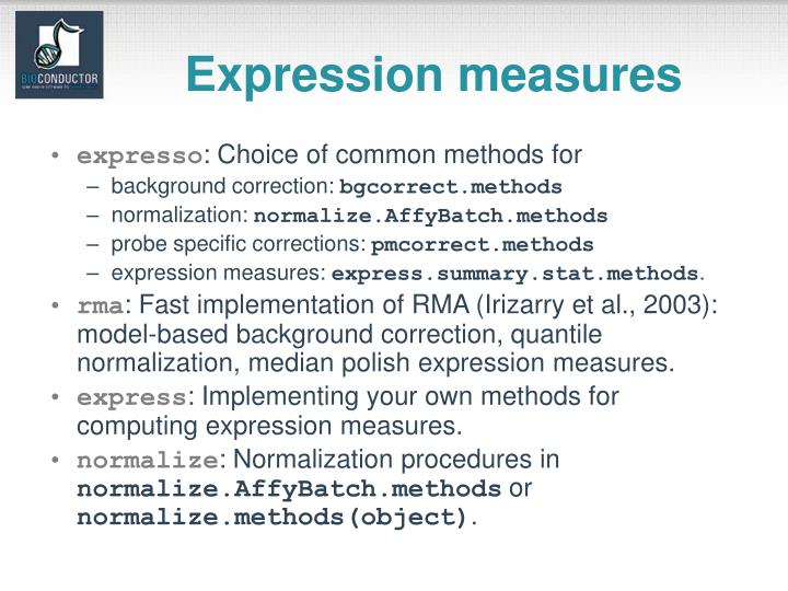 Expression measures