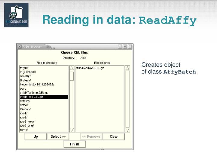 Reading in data: