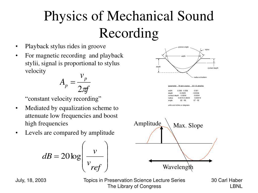 Physics of Mechanical Sound Recording