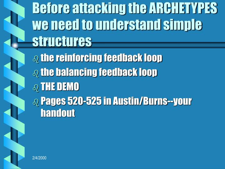 Before attacking the ARCHETYPES we need to understand simple structures