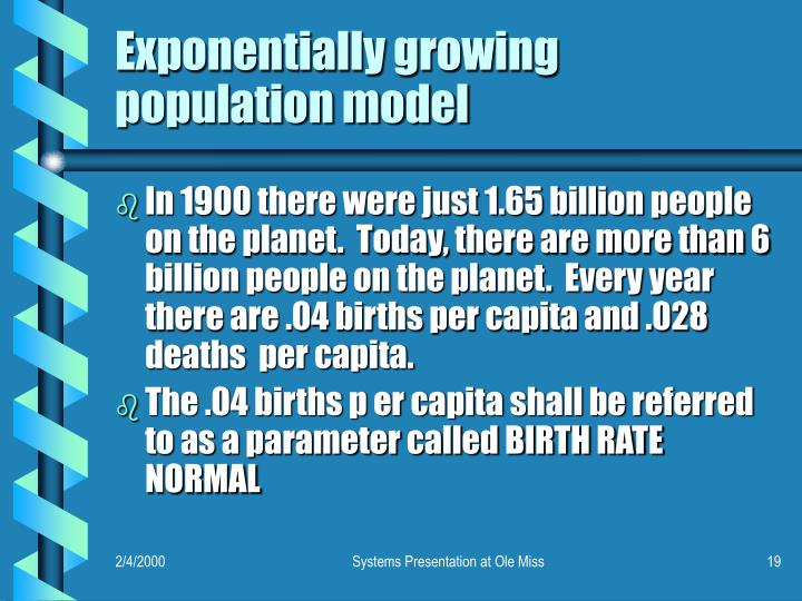 Exponentially growing population model